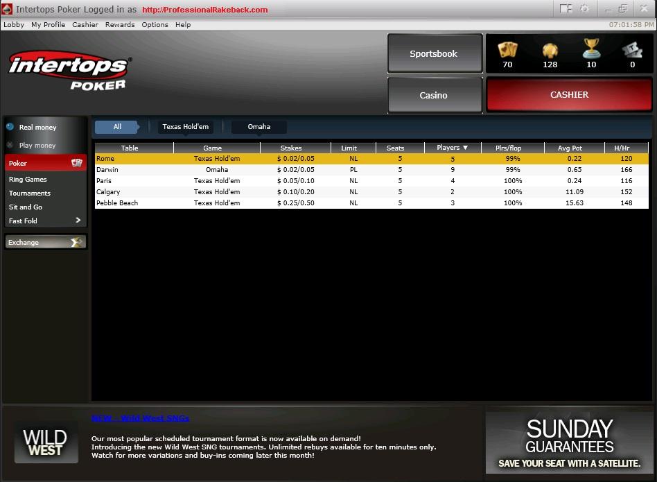 Intertops Fast Fold Internet Poker Lobby Screenshot